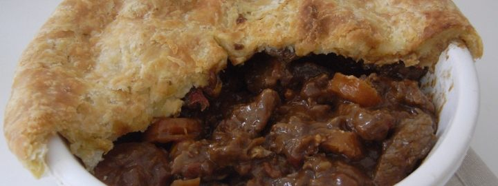 Suet crusted beef and onion pie