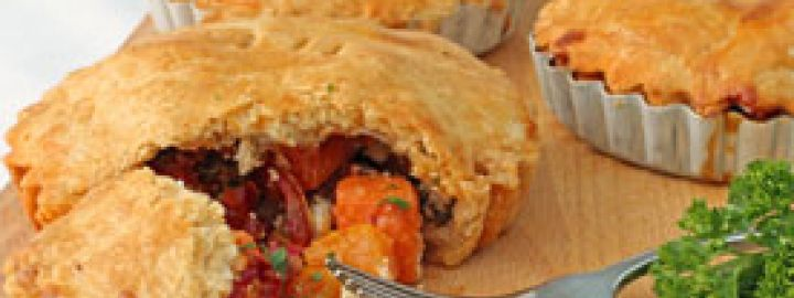 Butternut and goats cheese pies