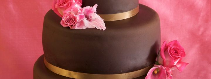 Three tier chocolate wedding cake