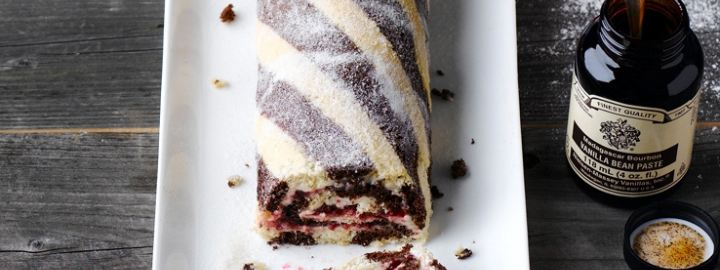 Chocolate and vanilla swiss roll