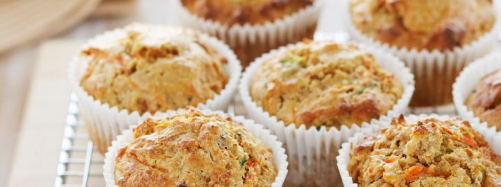 Wholemeal carrot and courgette muffins