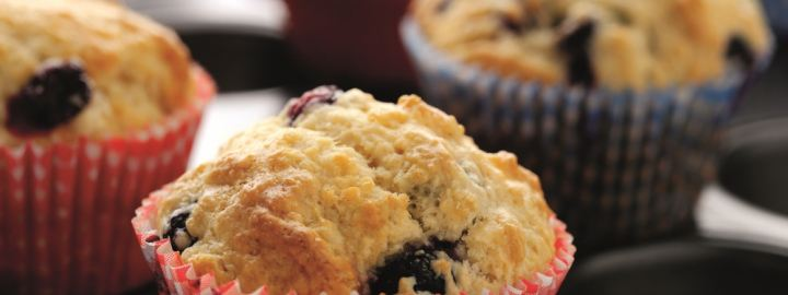 Calorie conscious blueberry breakfast muffins