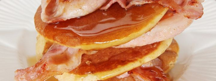 Buttermilk and cinnamon pancakes with bacon