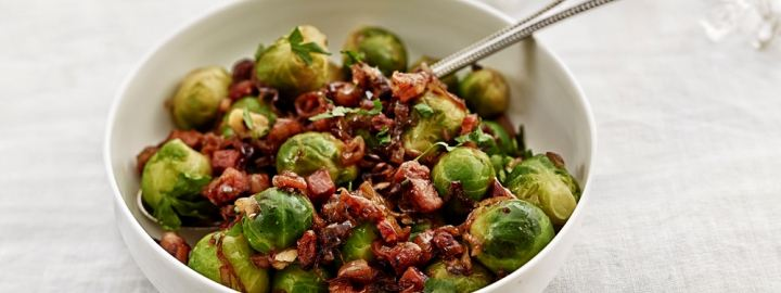 Brussels sprouts with pancetta and hazelnut