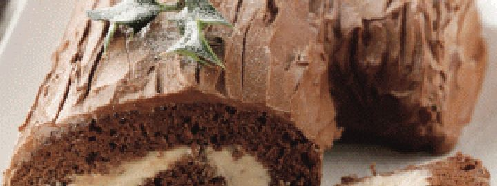 Chocolate chestnut Yule log