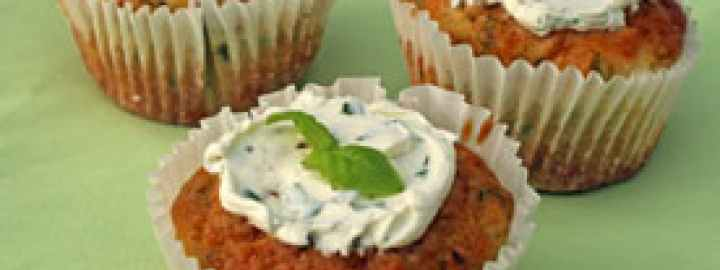 Feta cheese and herb cupcakes