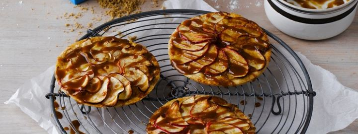 Apple and marzipan tarts with salted caramel glaze