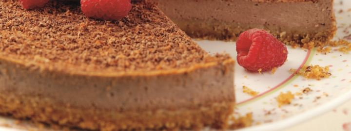 Calorie conscious baked chocolate cheesecake