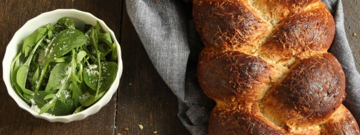 Plaited cheese and herb bread
