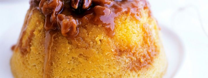 Sticky toffee and walnut pudding
