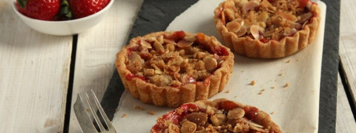 Strawberry and almond crumble tarts
