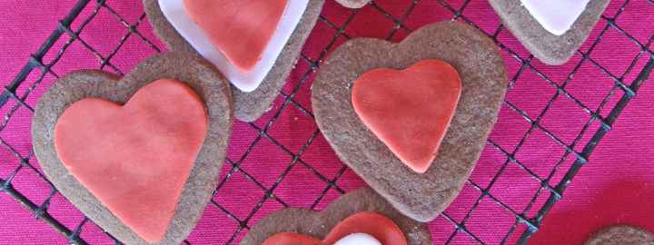 Valentine's chocolate heart biscuits